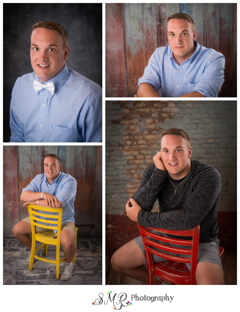 senior guy, casual, red chair, yellow chair, brick wall
