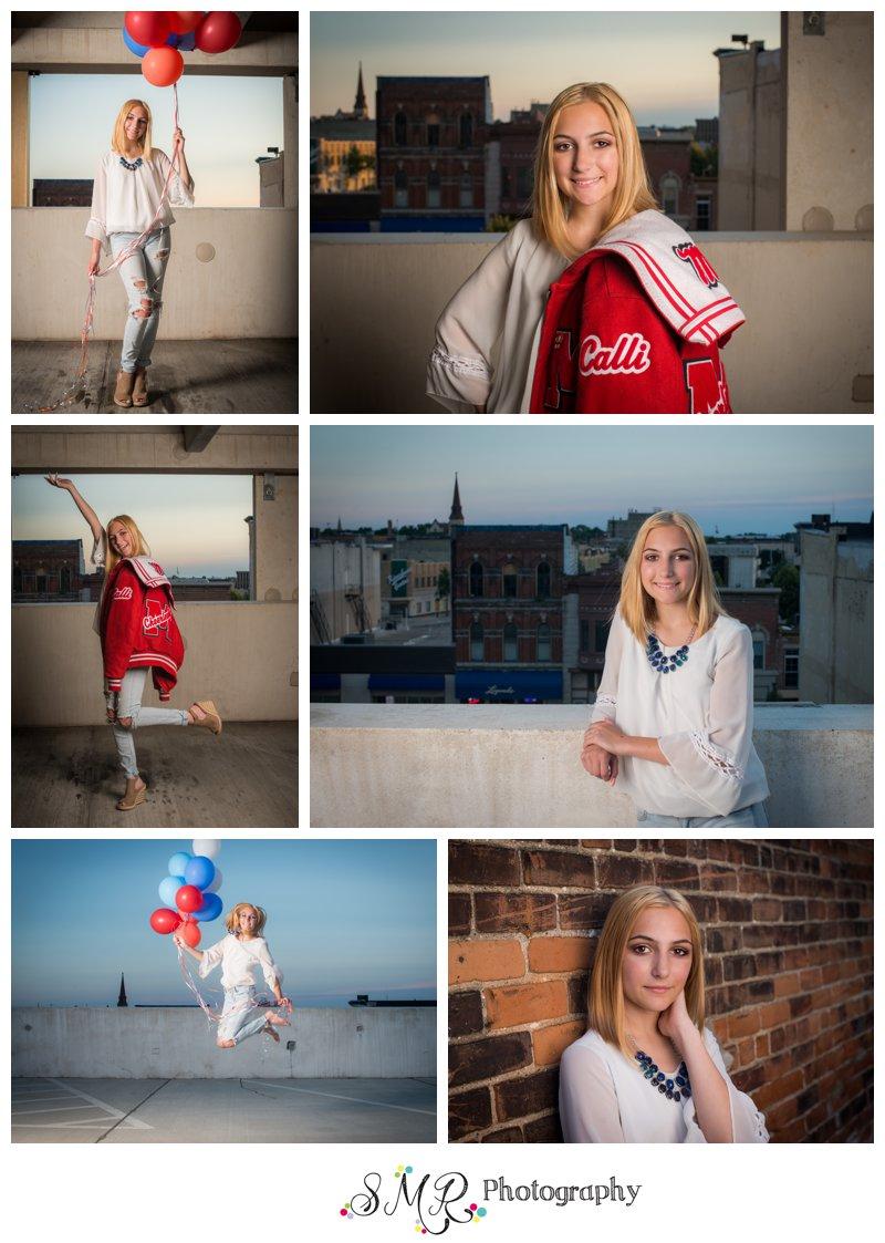 Senior girl, balloons, parking garage, cheerleading, skyline, brick wall