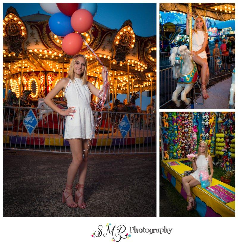 Senior girl, balloons, county fair, carousel, cotton candy, carnival
