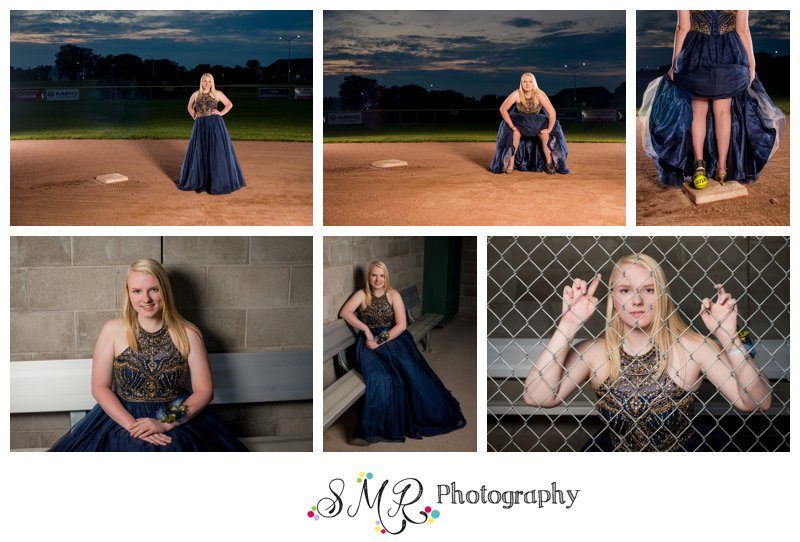 senior girl, prom dress, 2018 graduate, softball, dug out, second base, sunset