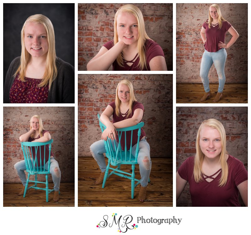 senior girl, yearbook photo, blue chair, brick wall