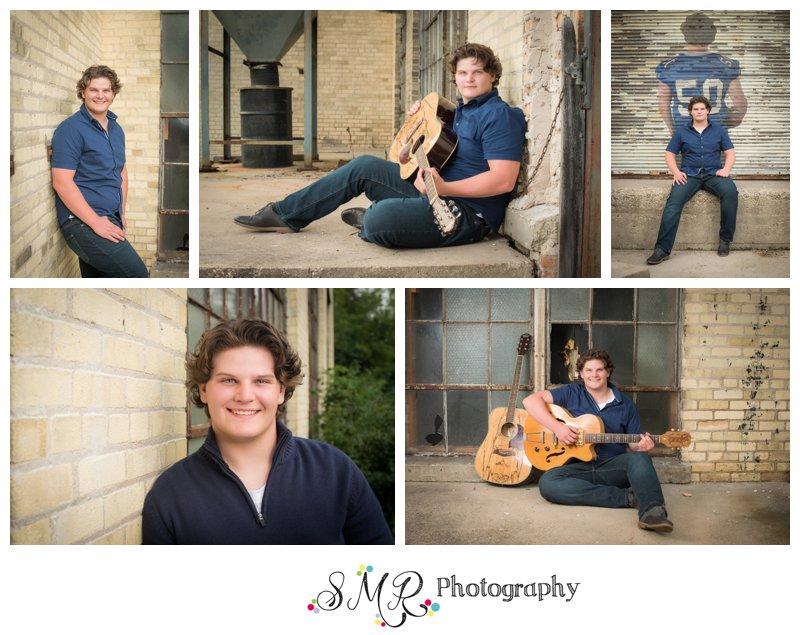 Senior guy, casual, brick wall, old warehouse, guitar, football
