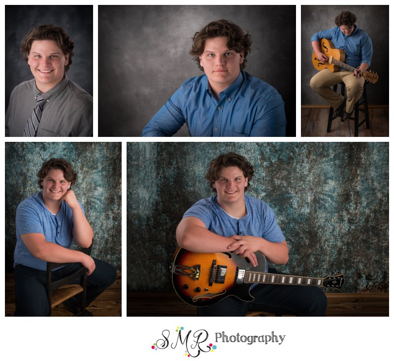 Senior guy, yearbook, casual, guitar