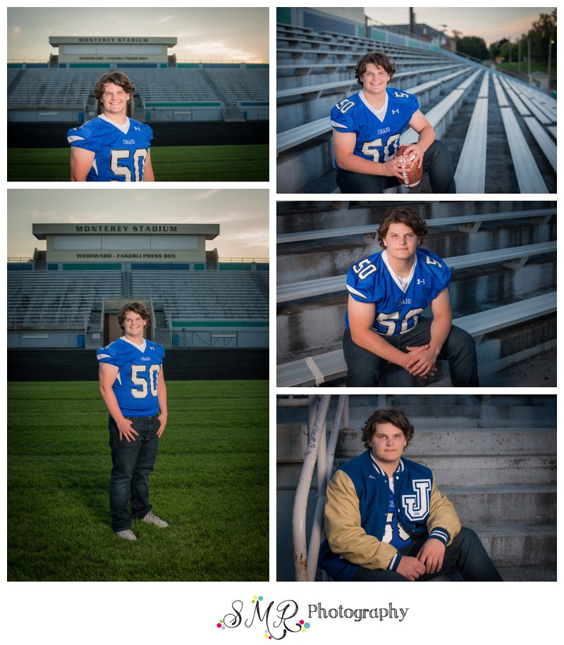 Senior guy, football, stadium, letterman jacket