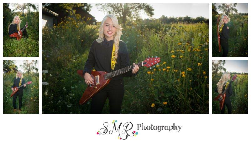high school senior girl, guitar, field