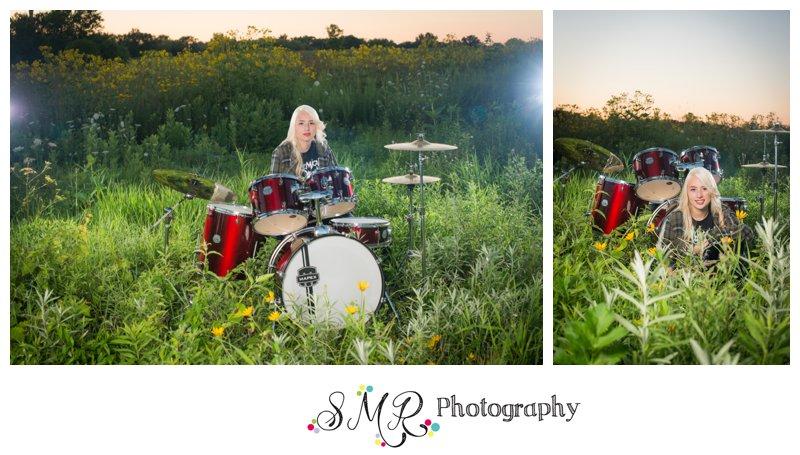 high school senior girl, drum set, field