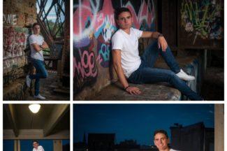 senior guy, train trestle, graffiti, parking garage ,motorcycle, downtown Janesville, WI