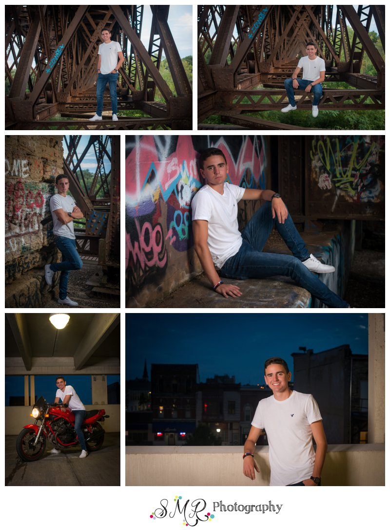 senior guy, train trestle, graffiti, parking garage ,motorcycle, downtown Janesville, WI
