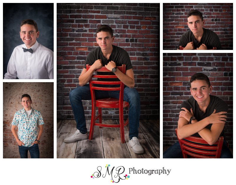 Senior guy, casual, red chair, brick wall, hawaiian shirt