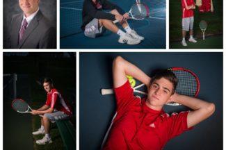 senior guy, yearbook photo, tennis, tennis court, letterman jacket, tennis racket