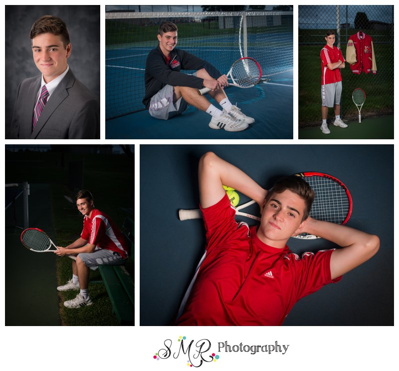 senior guy, yearbook photo, tennis, tennis court, letterman jacket, tennis racket