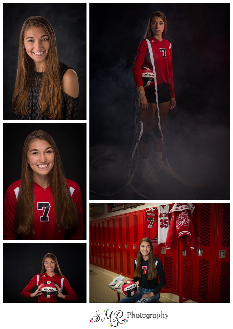 Senior girl, yearbook, volleyball, fog, locker room, basketball, jerseys, letterman jacket