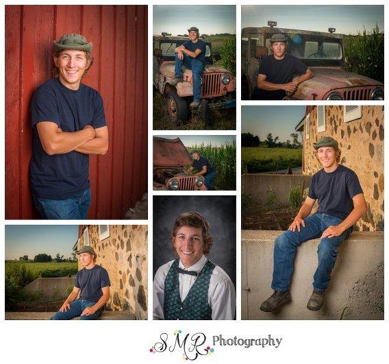 senior guy, yearbook, jeep, barn, stone wall