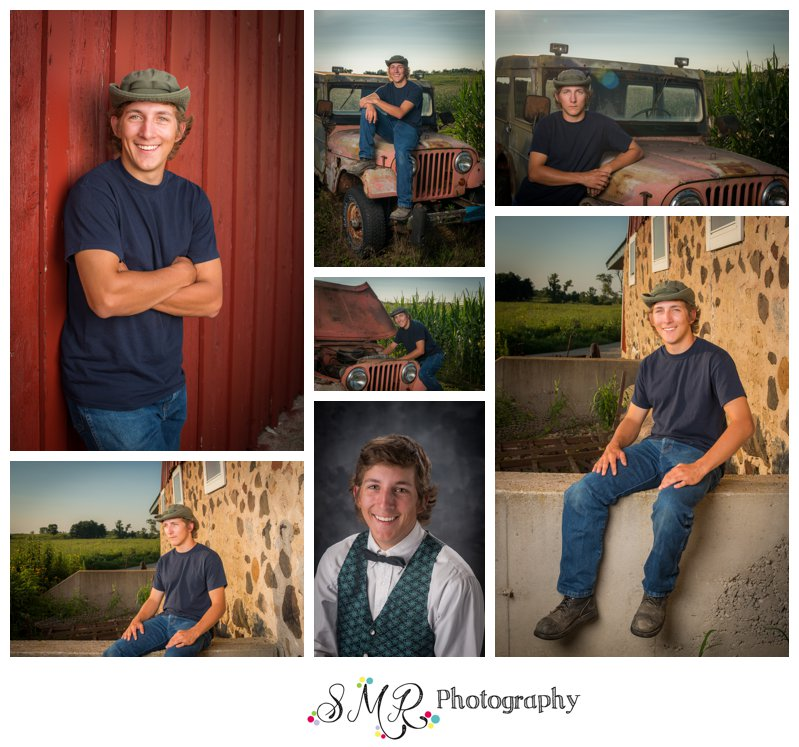 senior guy, yearbook, jeep, barn, stone wall
