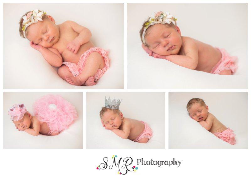 baby girl, newborn, pink, ruffle bunny, flowers, crown