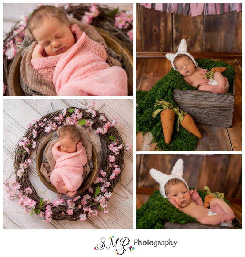 baby girl, bunny, rabbit, pink, flowers